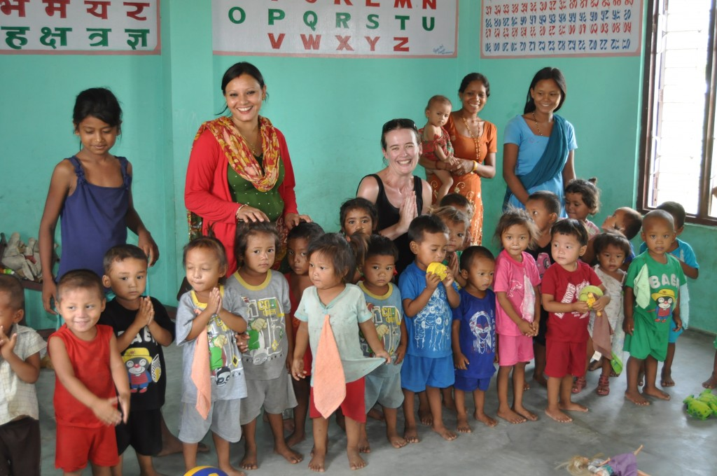 SVPI volunteer at daycare centre in Nepal.