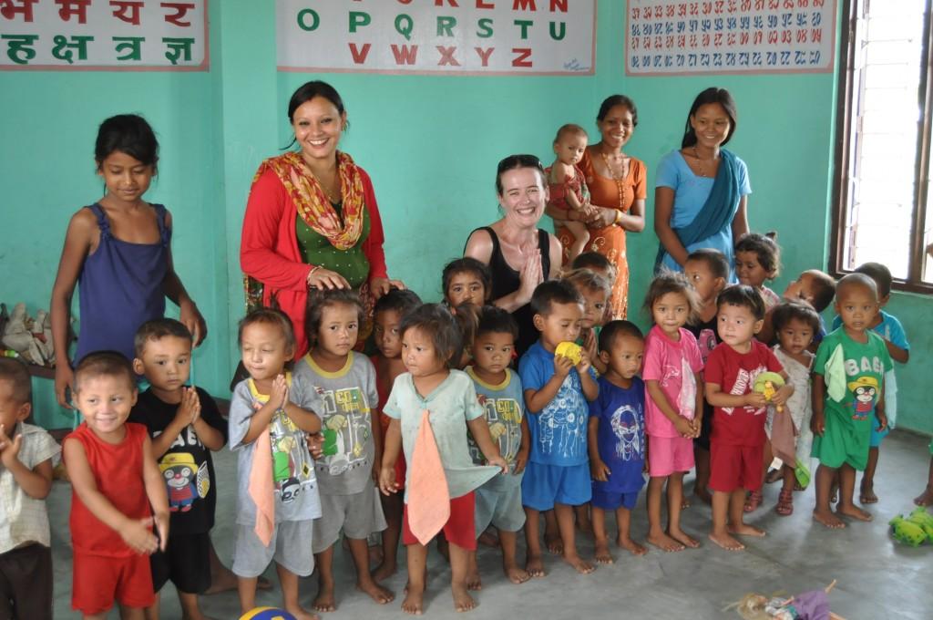 SVPI volunteer at daycare centre in Nepal.